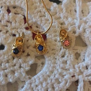 Baby Booties Charm Necklace With Gold Tone